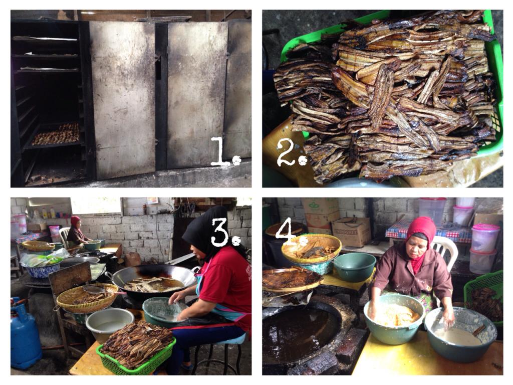 (1) Oven pisang, (2) Pisang yang sudah siap digoreng, (3) Proses penggorengan pisang sale original, (4) Proses penggorengan pisang sale keju