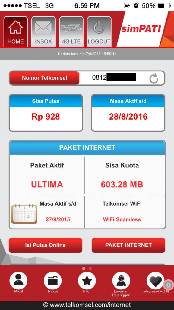 Sisa Kuota 603.28 MB pada 7 Sept 2015