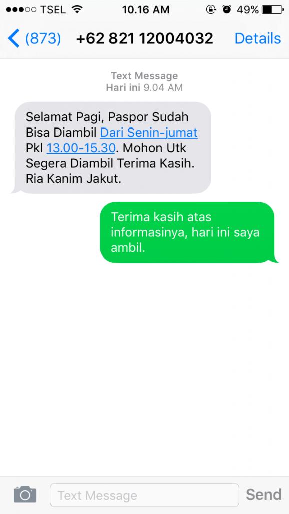 SMS informasi epaspor sudah jadi